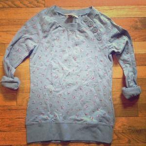Roxy Tops - Roxy Floral Raglan Top Sweatshirt W/ Button Detail