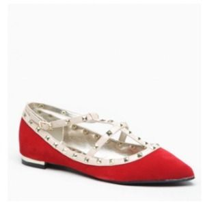 Shoes - LAST PAIR Red & Nude Studded D'Orsay Ballet Flats
