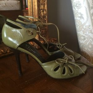 Valentino green leather ankle tie heels