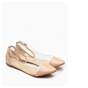 Shoes - READY TO SHIP Faux Nude Leather & Vinyl Flats