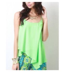 Tops - Lime Asymmetrical Chiffon Top + Waterfall Pleats