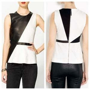 SALE❗️ Elizabeth James black leather white peplum