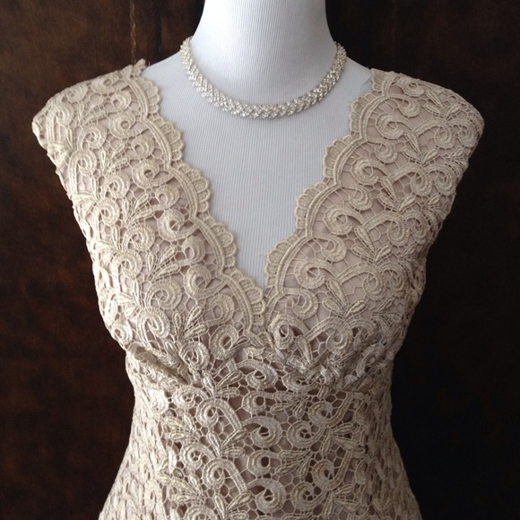Marina Dresses | Gold Lace Fit And Flare Dress | Poshmark