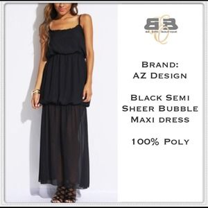 Dresses & Skirts - Black Semi Sheer Tiered Bubble Maxi Dress