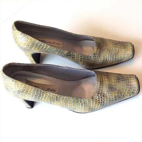 vintage Shoes - Vintage Bellini Croc style chunky heel shoes