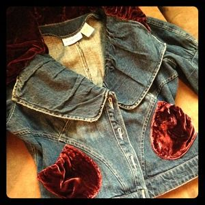 Adorable jean jacket with red velvet accents