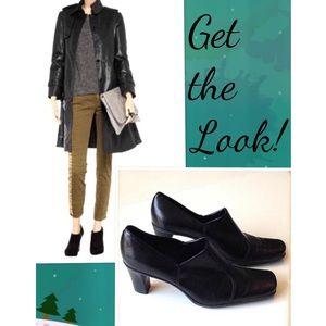 Franco Sarto Black Leather Booties Slide ons sz 8