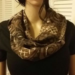 New York studio Accessories - Black ,Brown and white 100 % silk infinity scarf