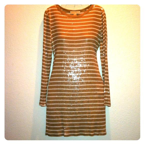 19c62a272c6 MK Sequin Dark Camel and White Stripe Tee Dress. NWT. MICHAEL Michael Kors