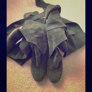 "Jeffrey Campbell ""Libby"" Suede wrap around boots 8"