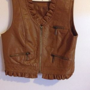 Brown vintage leather vest