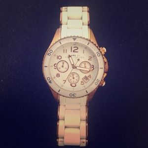 Marc by Marc Jacobs white silicone and gold watch
