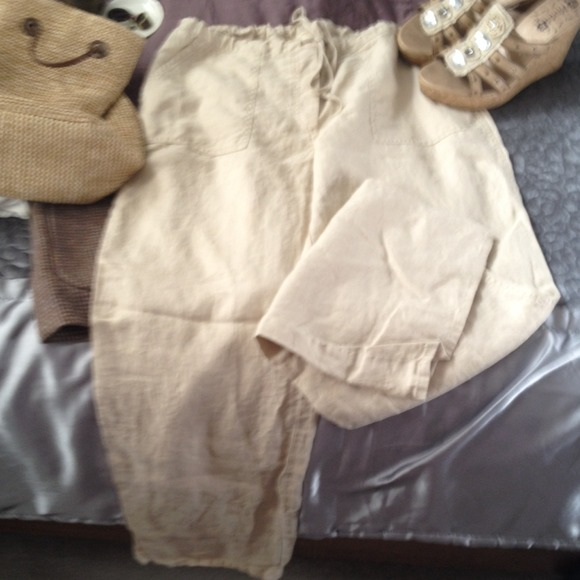 69% off Pants - Linen pants!! Nice tan/off white linen pants from ...