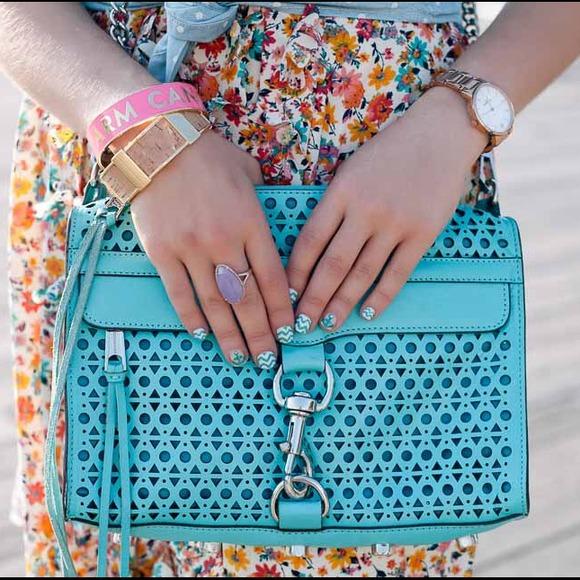 Rebecca Minkoff Handbags - Rebecca Minkoff Aqua Lasercut Crossbody