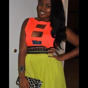 Rampage neon & black cutout dress