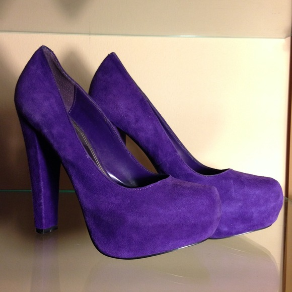 78% off Bakers Shoes - Purple Suede Chunky Heel Pumps! from A's ...