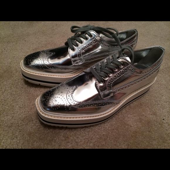 16b65c7f8687 Prada silver oxford! Limited edition