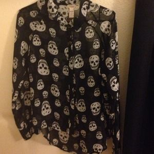 Sheer black and white skull blouse