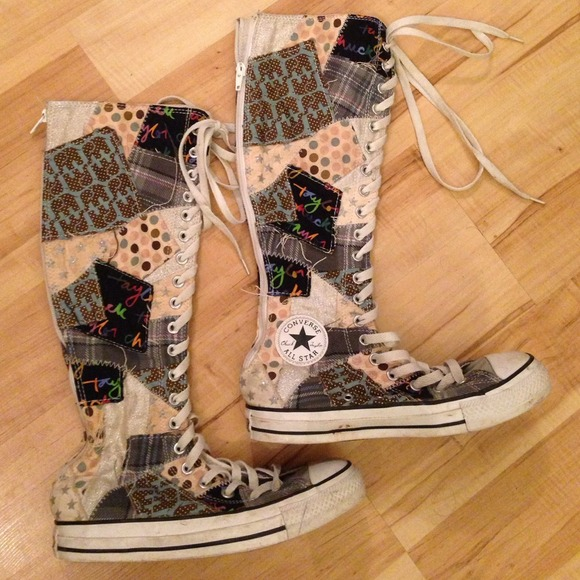 72062581616 Converse Shoes - Converse Patchwork tall high top sneakers size 7