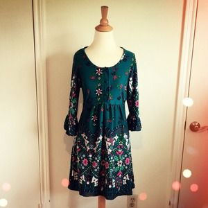 Dresses & Skirts - Bohemian Teal Jade Floral Dress + Poet Sleeves