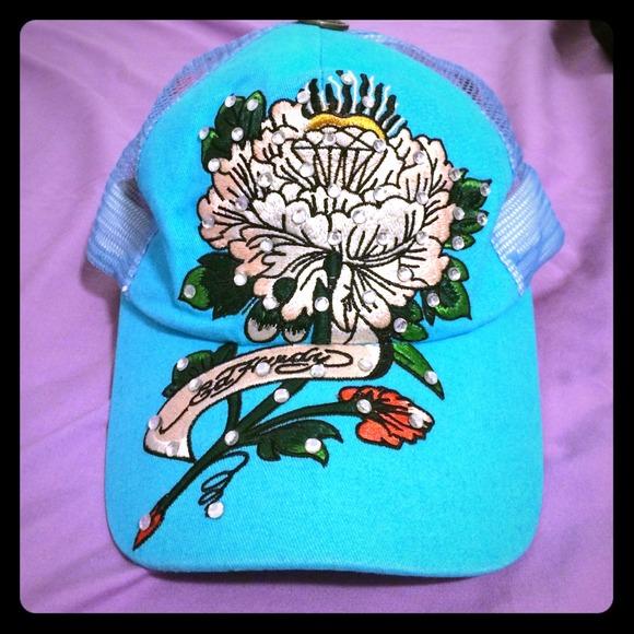 Ed Hardy Accessories - Ed Hardy - Rhinestone lotus Embroidered Mesh Cap