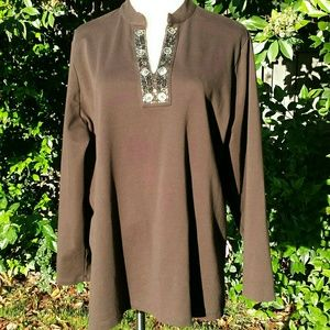☆HP☆ NWOT Lands' End Petite Brown Beaded Tunic