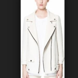 Zara Jackets & Blazers - Zara Ecru Cream Biker Moto Coat Jacket *new*