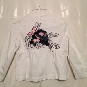 White floral embroidered jacket