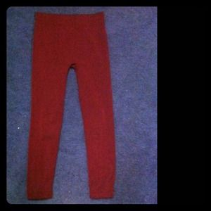 Maroon Fleece Lined Leggings
