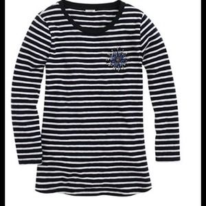 J. Crew Stripe Painter's Tee with Jeweled Brooch