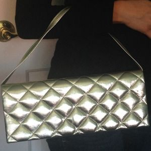 Light Gold Quilted Clutch with Strap