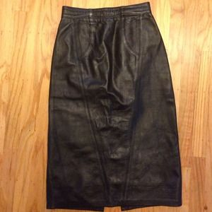 Black high waisted leather vintage skirt