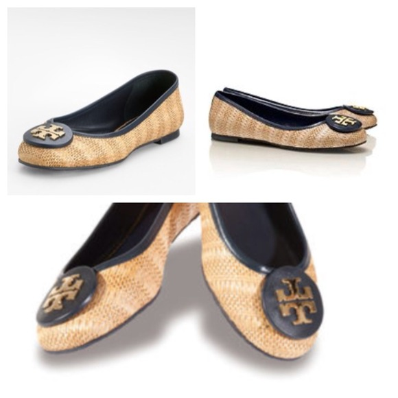 New in box! TORY BURCH RAFFIA STRAW REVA FLAT