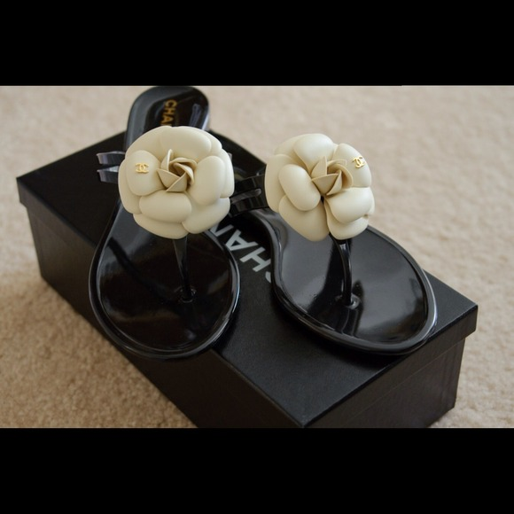 2b56c997bdd CHANEL Shoes - CHANEL Camellia White Flower Sandals Size 8
