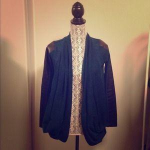 Zara leather sleeve drape cardigan