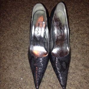 Grey Herstyle Snakeskin Stiletto Pump Heels