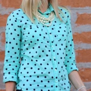 Target Tops - Target Mint Polka Dot Button Up