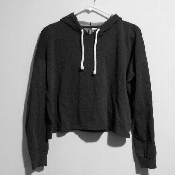 57581263627 H&M Tops | Hm Dark Gray Cropped Hoodie W Free Beanie | Poshmark