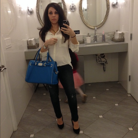 Michael Kors Hampton blue Hamilton tote handbag