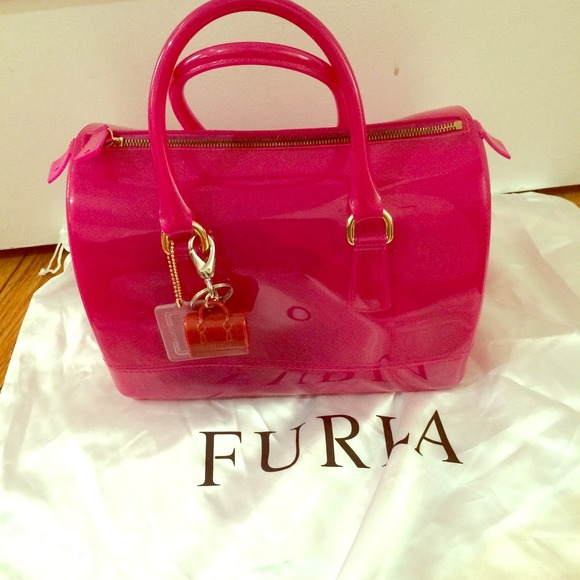 Furla Bags Candy Bag Fuchsia Hot Pink With Key Chain