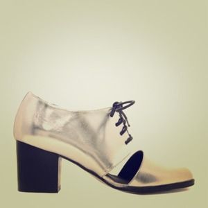 Silver Stacked-Heel Cutout Oxford