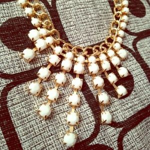 Gold and White Bib Necklace