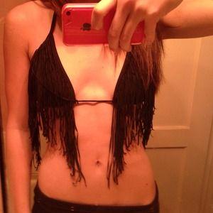 Black fringe bikini top