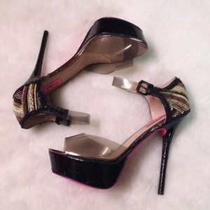 New Betsey Johnson Beaded Black/Clear Stilettos!