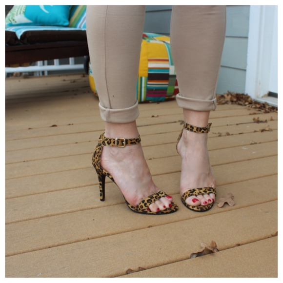Shoes - Leopard print ankle strap heels