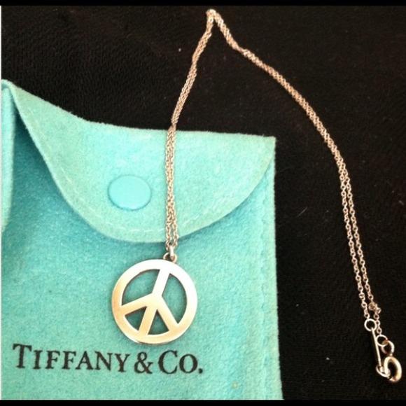 7bb364716 Tiffany & Co. Jewelry | Tiffany Peace Sign Necklace | Poshmark