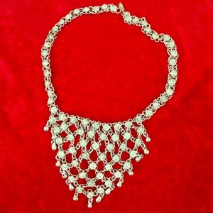 Silver Bib Collar Necklace