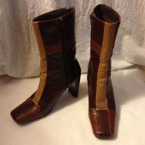 multi coloured patchwork leather boots