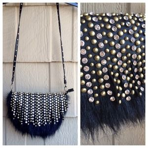 Black Studded Fur Crossbody Bag