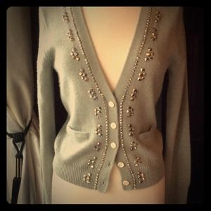 J. Crew Sweaters - Slate Blue Embellished Cardigan Sweater
